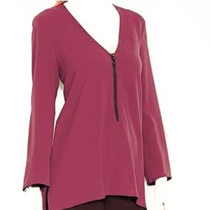 Rachel Roy top long sleeve tunic L wine burgundy